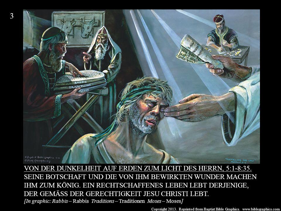 Copyright 2013. Reprinted from Baptist Bible Graphics. www.biblegraphics.com VON DER DUNKELHEIT AUF ERDEN ZUM LICHT DES HERRN, 5:1-8:35. SEINE BOTSCHA
