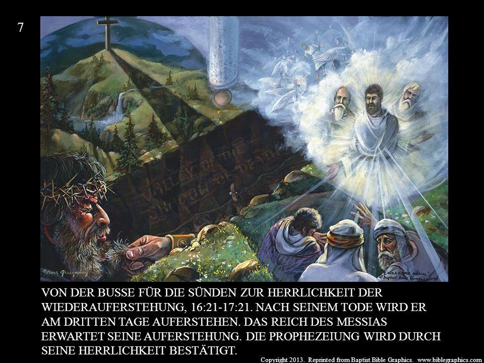 Copyright 2013. Reprinted from Baptist Bible Graphics. www.biblegraphics.com VON DER BUSSE FÜR DIE SÜNDEN ZUR HERRLICHKEIT DER WIEDERAUFERSTEHUNG, 16: