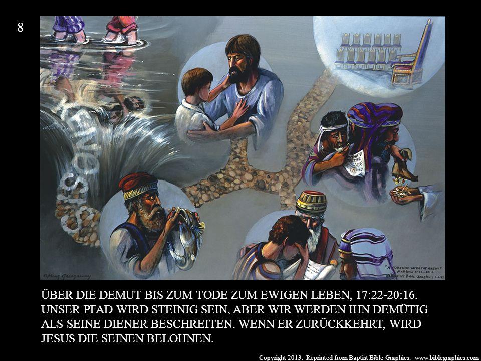 Copyright 2013. Reprinted from Baptist Bible Graphics. www.biblegraphics.com ÜBER DIE DEMUT BIS ZUM TODE ZUM EWIGEN LEBEN, 17:22-20:16. UNSER PFAD WIR