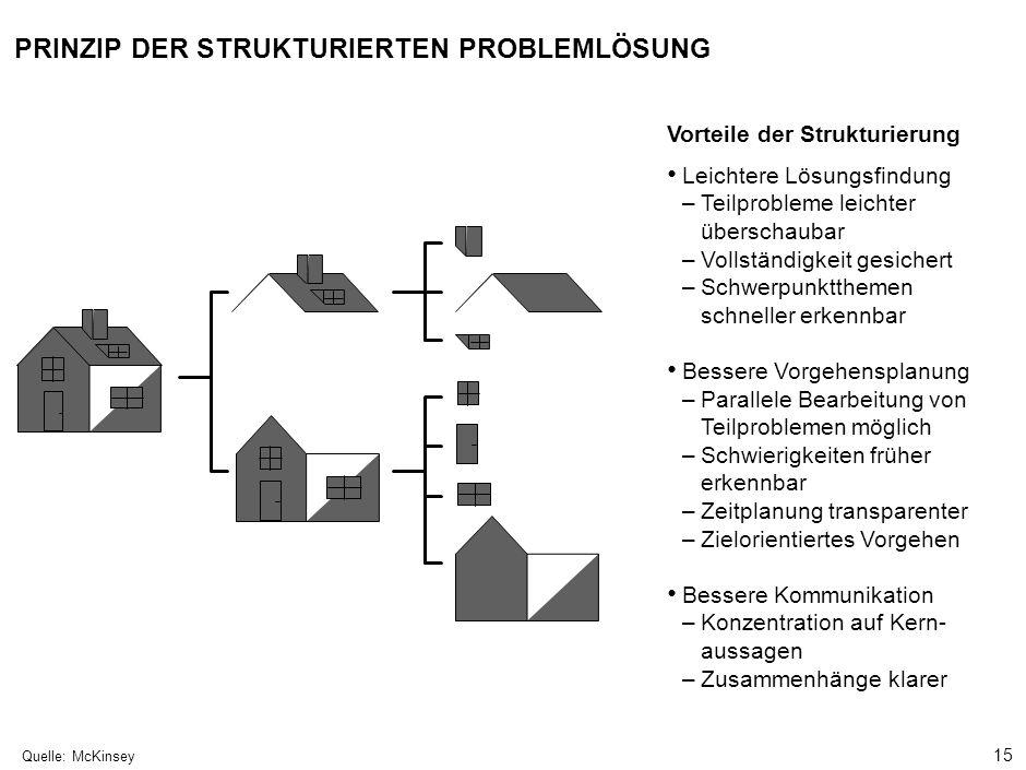 15 000624FT_262414_777_v3_i Quelle:McKinsey Leichtere Lösungsfindung –Teilprobleme leichter überschaubar –Vollständigkeit gesichert –Schwerpunktthemen