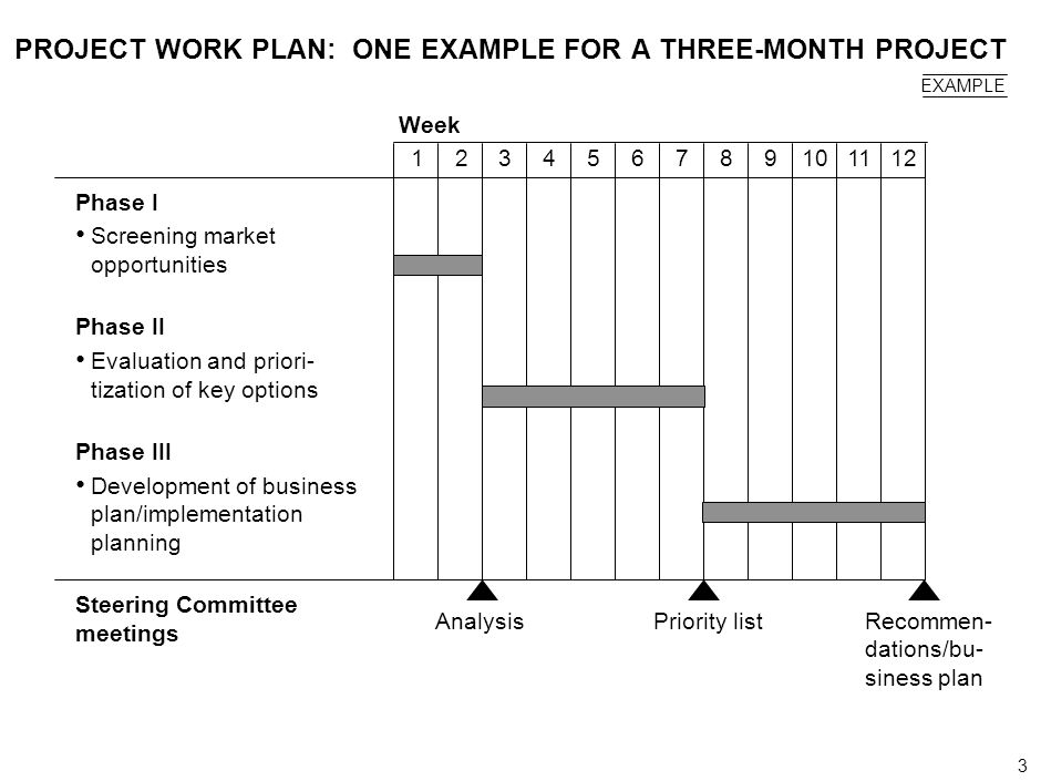3 000624FT_262414_777_v3_i PROJECT WORK PLAN: ONE EXAMPLE FOR A THREE-MONTH PROJECT Phase I Screening market opportunities Phase II Evaluation and pri
