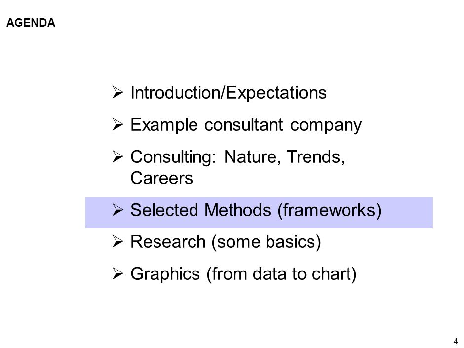 4 000624FT_262414_777_v3_i AGENDA Introduction/Expectations Example consultant company Consulting: Nature, Trends, Careers Selected Methods (framework
