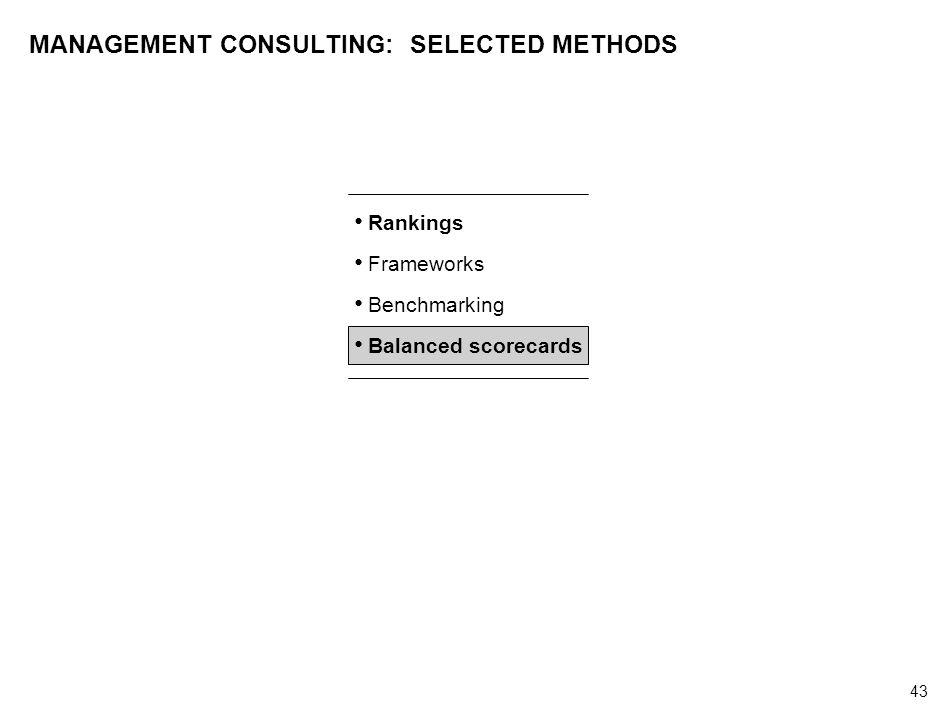 43 000624FT_262414_777_v3_i MANAGEMENT CONSULTING: SELECTED METHODS Rankings Frameworks Benchmarking Balanced scorecards