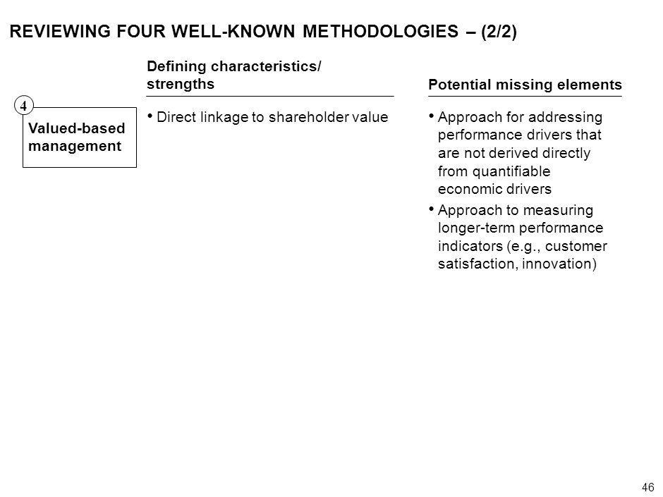 46 000624FT_262414_777_v3_i REVIEWING FOUR WELL-KNOWN METHODOLOGIES – (2/2) Defining characteristics/ strengths Potential missing elements Valued-base