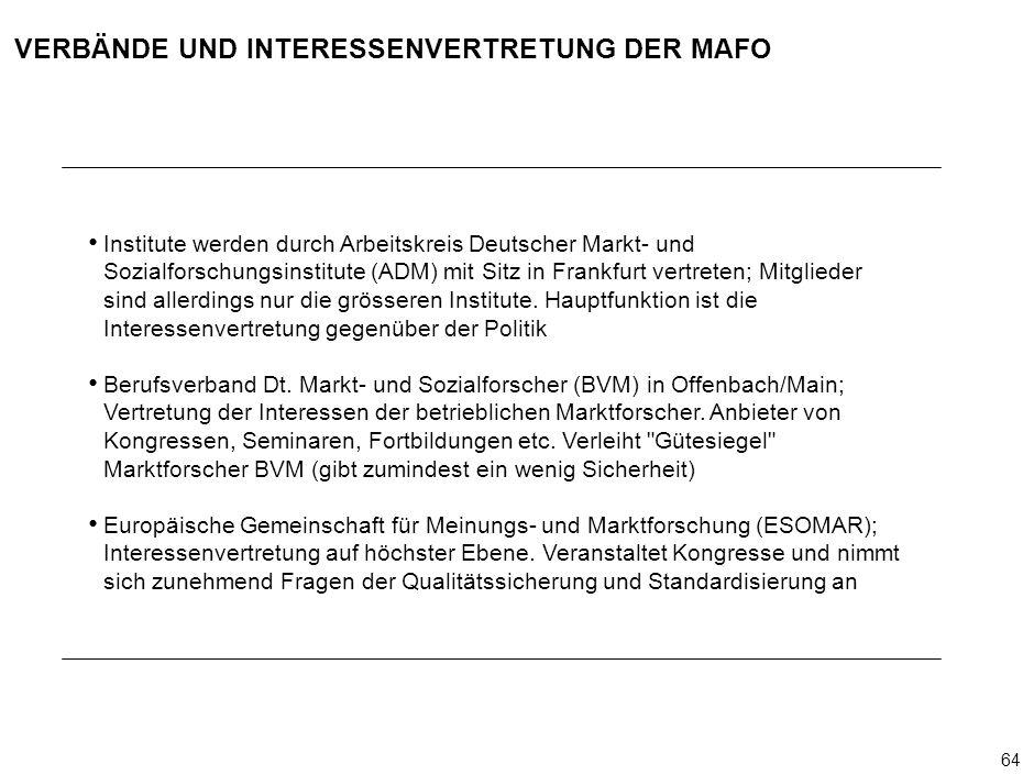 64 000624FT_262414_777_v3_i VERBÄNDE UND INTERESSENVERTRETUNG DER MAFO Institute werden durch Arbeitskreis Deutscher Markt- und Sozialforschungsinstitute (ADM) mit Sitz in Frankfurt vertreten; Mitglieder sind allerdings nur die grösseren Institute.