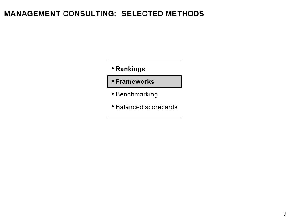 9 000624FT_262414_777_v3_i MANAGEMENT CONSULTING: SELECTED METHODS Rankings Frameworks Benchmarking Balanced scorecards
