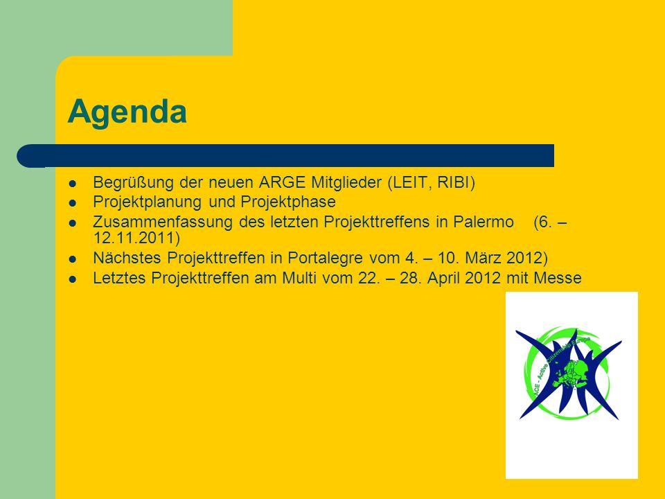 Agenda Begrüßung der neuen ARGE Mitglieder (LEIT, RIBI) Projektplanung und Projektphase Zusammenfassung des letzten Projekttreffens in Palermo (6.