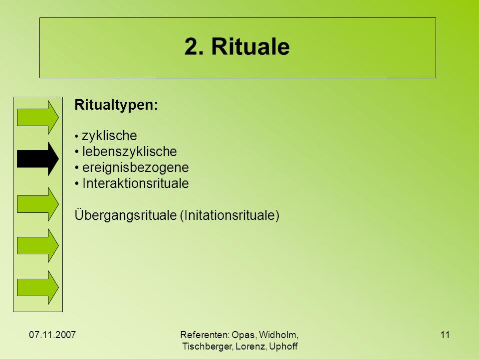07.11.2007Referenten: Opas, Widholm, Tischberger, Lorenz, Uphoff 11 2. Rituale Ritualtypen: zyklische lebenszyklische ereignisbezogene Interaktionsrit