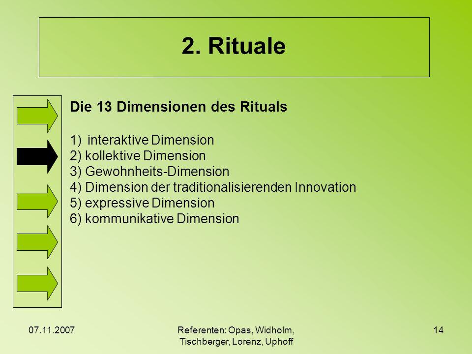 07.11.2007Referenten: Opas, Widholm, Tischberger, Lorenz, Uphoff 14 2. Rituale Die 13 Dimensionen des Rituals 1)interaktive Dimension 2) kollektive Di