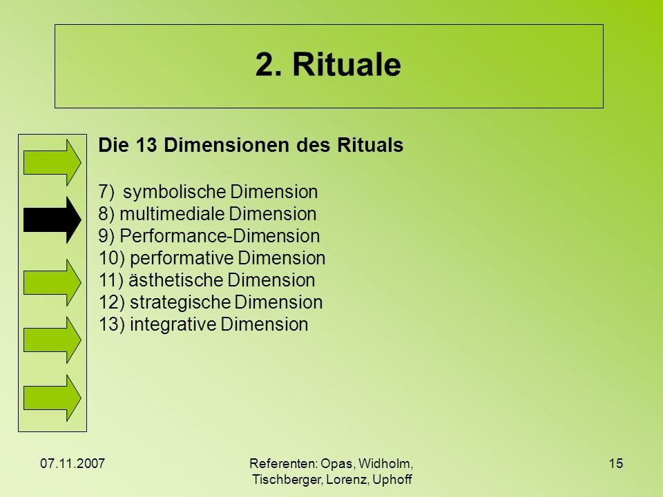 07.11.2007Referenten: Opas, Widholm, Tischberger, Lorenz, Uphoff 15 2. Rituale Die 13 Dimensionen des Rituals 7)symbolische Dimension 8) multimediale