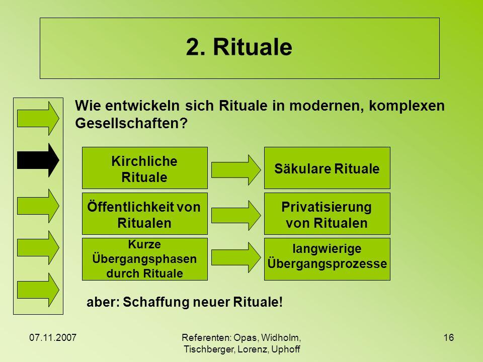 07.11.2007Referenten: Opas, Widholm, Tischberger, Lorenz, Uphoff 16 2. Rituale Wie entwickeln sich Rituale in modernen, komplexen Gesellschaften? Kirc