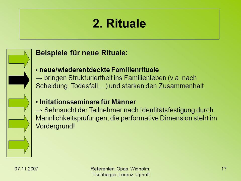 07.11.2007Referenten: Opas, Widholm, Tischberger, Lorenz, Uphoff 17 2. Rituale Beispiele für neue Rituale: neue/wiederentdeckte Familienrituale bringe
