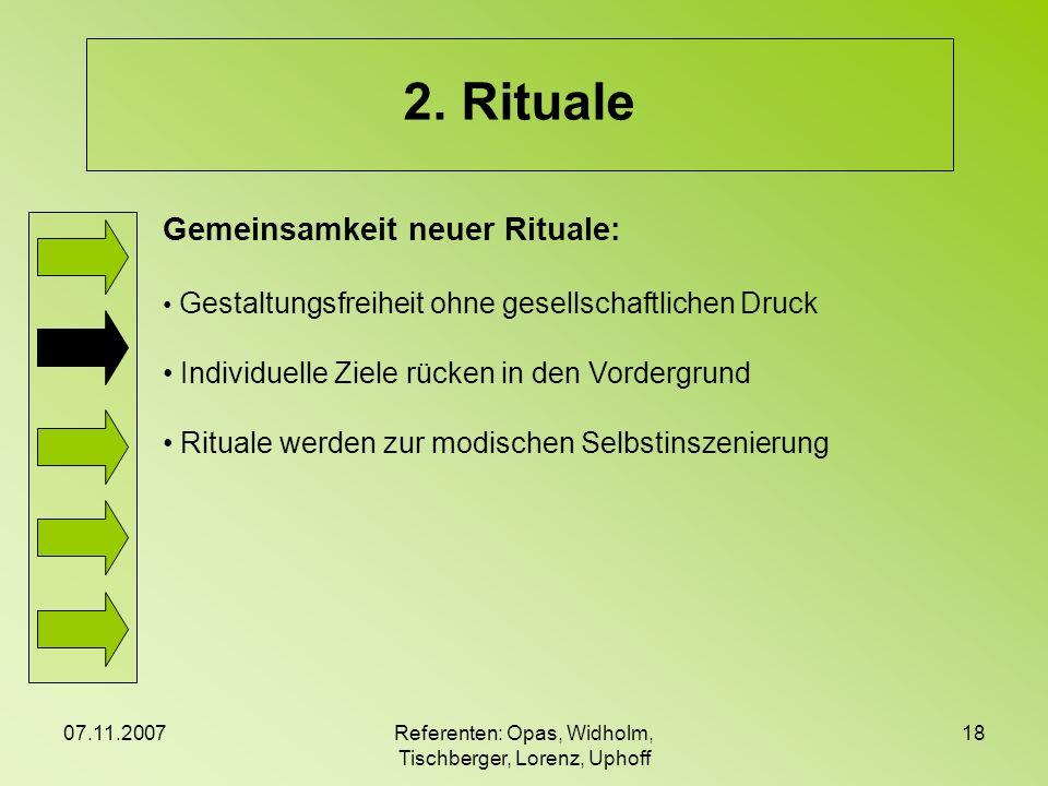 07.11.2007Referenten: Opas, Widholm, Tischberger, Lorenz, Uphoff 18 2. Rituale Gemeinsamkeit neuer Rituale: Gestaltungsfreiheit ohne gesellschaftliche