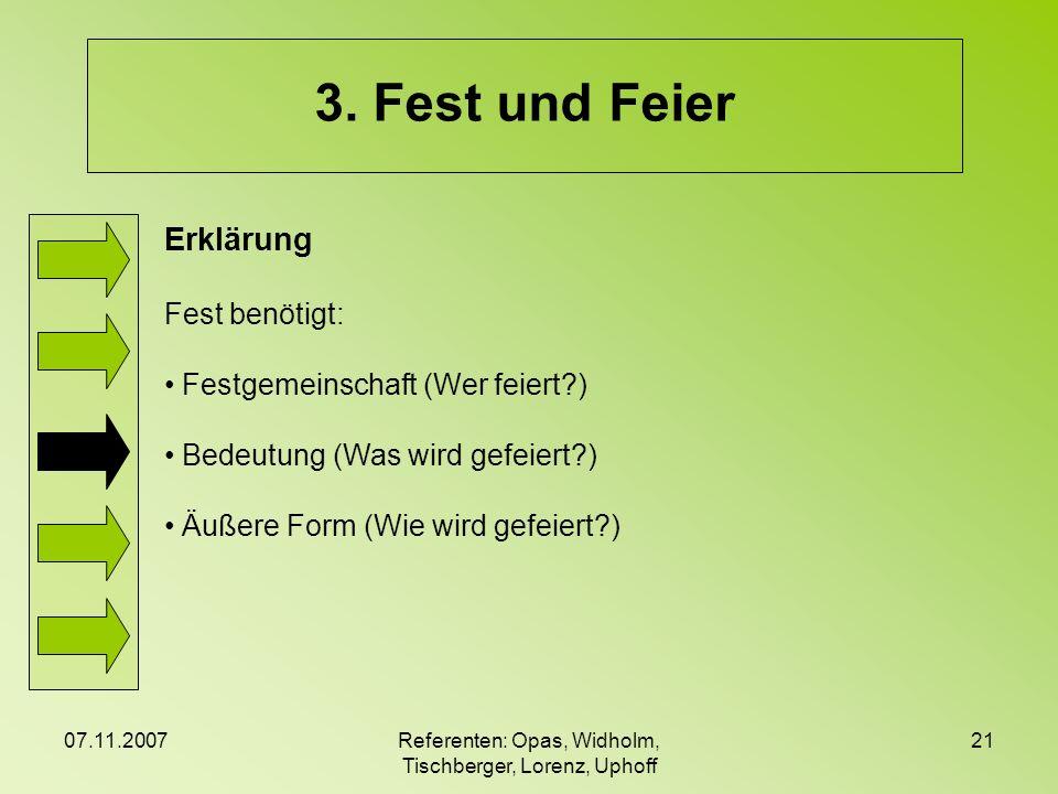 07.11.2007Referenten: Opas, Widholm, Tischberger, Lorenz, Uphoff 21 3. Fest und Feier Erklärung Fest benötigt: Festgemeinschaft (Wer feiert?) Bedeutun
