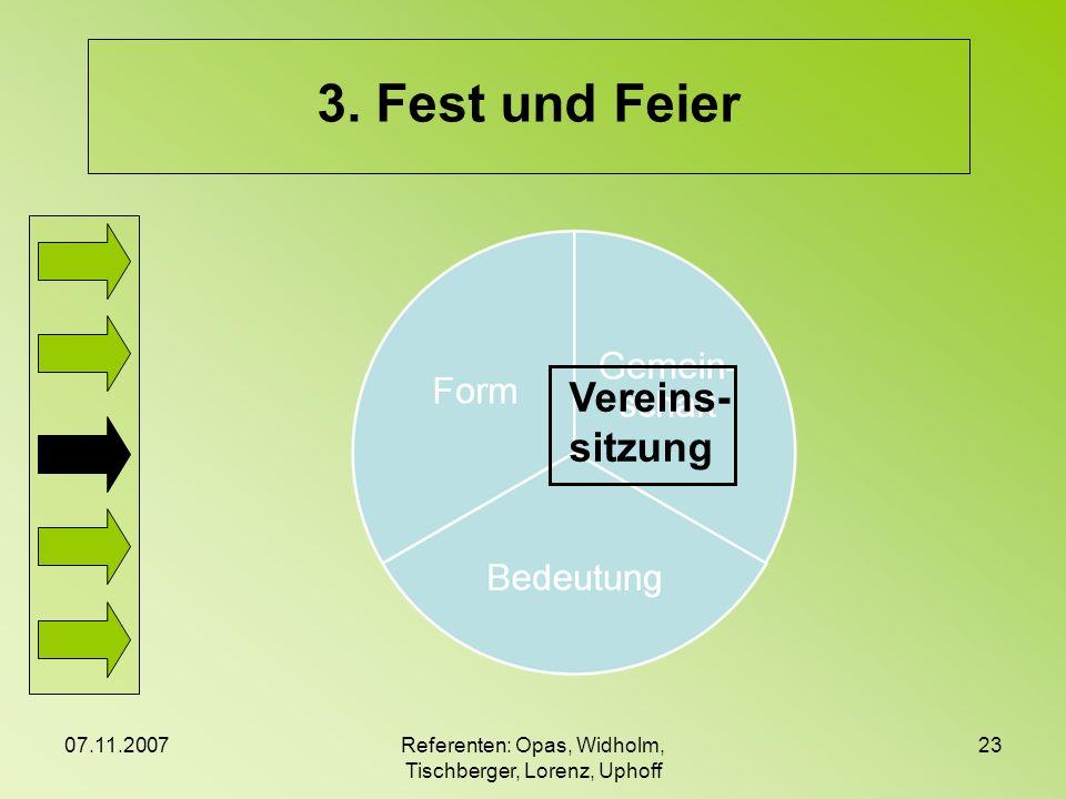 07.11.2007Referenten: Opas, Widholm, Tischberger, Lorenz, Uphoff 23 3. Fest und Feier Vereins- sitzung