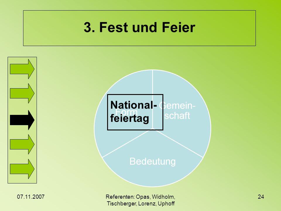 07.11.2007Referenten: Opas, Widholm, Tischberger, Lorenz, Uphoff 24 3. Fest und Feier National- feiertag