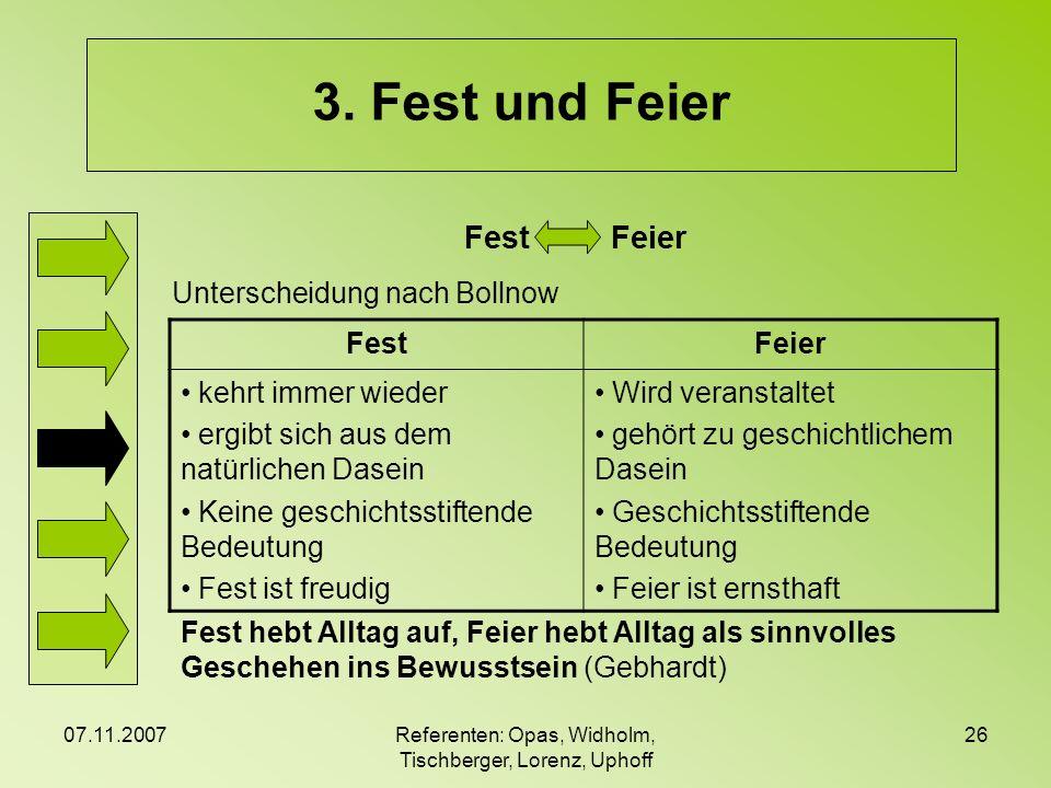 07.11.2007Referenten: Opas, Widholm, Tischberger, Lorenz, Uphoff 26 3. Fest und Feier Fest Feier FestFeier kehrt immer wieder ergibt sich aus dem natü