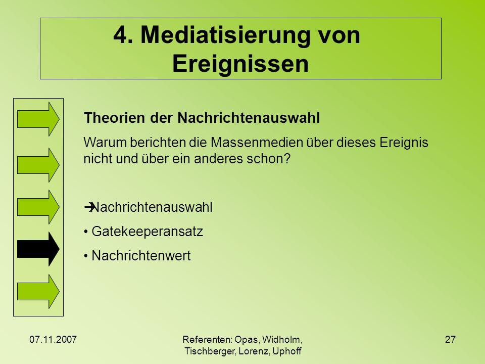 07.11.2007Referenten: Opas, Widholm, Tischberger, Lorenz, Uphoff 27 4. Mediatisierung von Ereignissen Theorien der Nachrichtenauswahl Warum berichten
