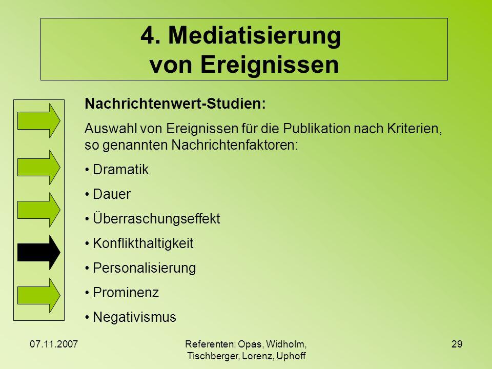 07.11.2007Referenten: Opas, Widholm, Tischberger, Lorenz, Uphoff 29 4. Mediatisierung von Ereignissen Nachrichtenwert-Studien: Auswahl von Ereignissen