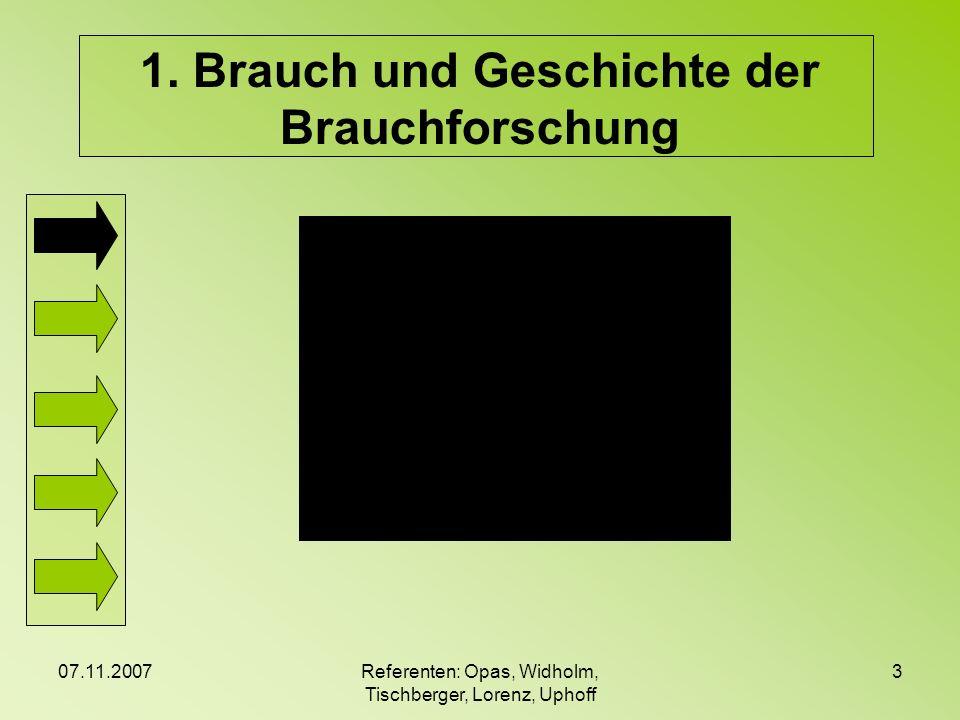 07.11.2007Referenten: Opas, Widholm, Tischberger, Lorenz, Uphoff 3 1. Brauch und Geschichte der Brauchforschung