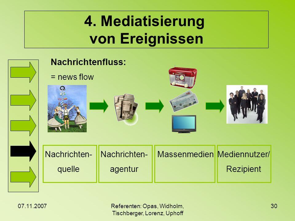 07.11.2007Referenten: Opas, Widholm, Tischberger, Lorenz, Uphoff 30 4. Mediatisierung von Ereignissen Nachrichtenfluss: = news flow Nachrichten- quell