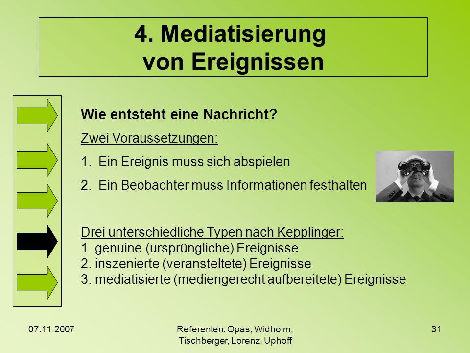 07.11.2007Referenten: Opas, Widholm, Tischberger, Lorenz, Uphoff 31 4. Mediatisierung von Ereignissen Wie entsteht eine Nachricht? Zwei Voraussetzunge