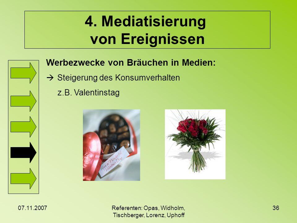 07.11.2007Referenten: Opas, Widholm, Tischberger, Lorenz, Uphoff 36 4. Mediatisierung von Ereignissen Werbezwecke von Bräuchen in Medien: Steigerung d