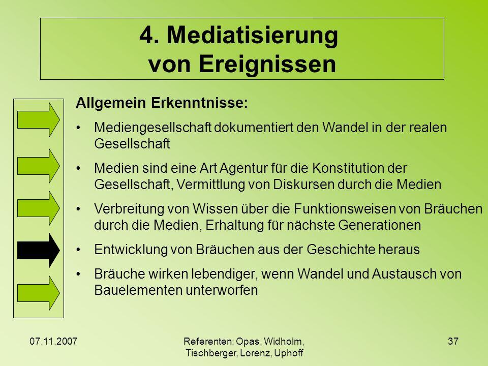 07.11.2007Referenten: Opas, Widholm, Tischberger, Lorenz, Uphoff 37 4. Mediatisierung von Ereignissen Allgemein Erkenntnisse: Mediengesellschaft dokum
