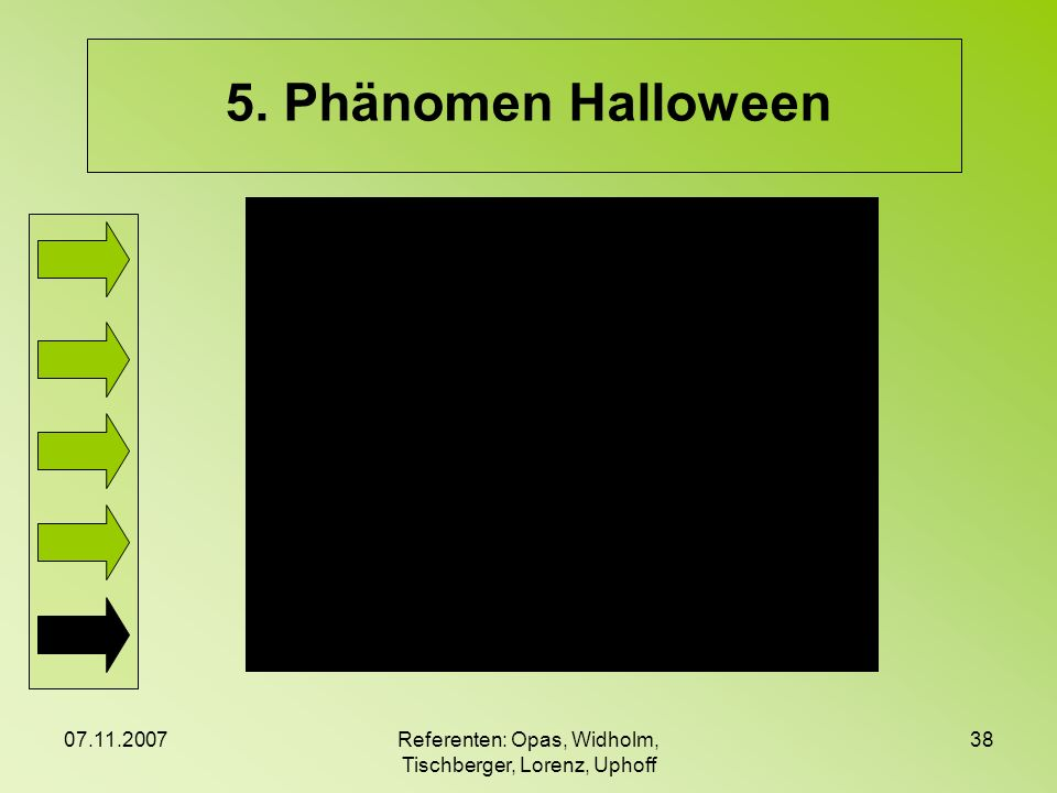 07.11.2007Referenten: Opas, Widholm, Tischberger, Lorenz, Uphoff 38 5. Phänomen Halloween