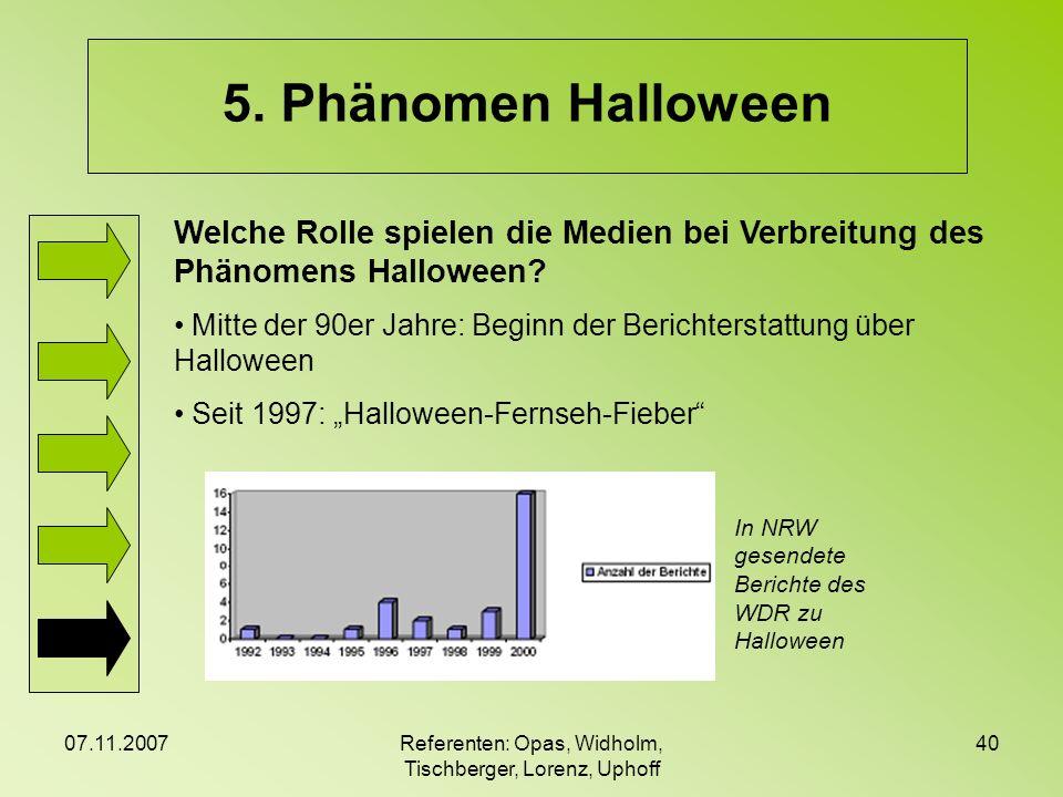07.11.2007Referenten: Opas, Widholm, Tischberger, Lorenz, Uphoff 40 5. Phänomen Halloween Welche Rolle spielen die Medien bei Verbreitung des Phänomen