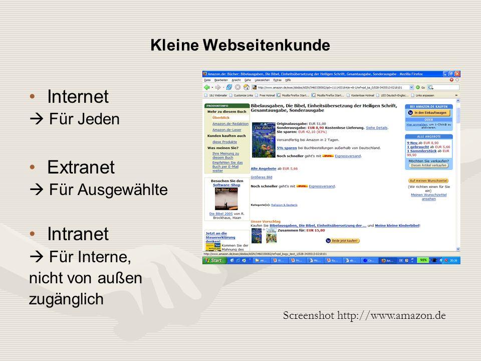 Internet Für Jeden Extranet Für Ausgewählte Intranet Für Interne, nicht von außen zugänglich Screenshot http://www.amazon.de Kleine Webseitenkunde