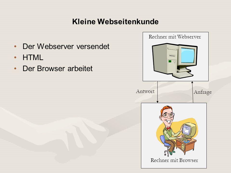 Der Webserver versendet HTML Der Browser arbeitet Kleine Webseitenkunde Rechner mit Browser Rechner mit Webserver Anfrage Antwort