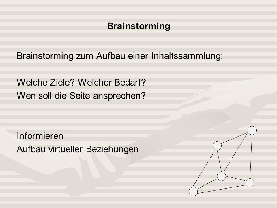 Brainstorming Brainstorming zum Aufbau einer Inhaltssammlung: Welche Ziele.