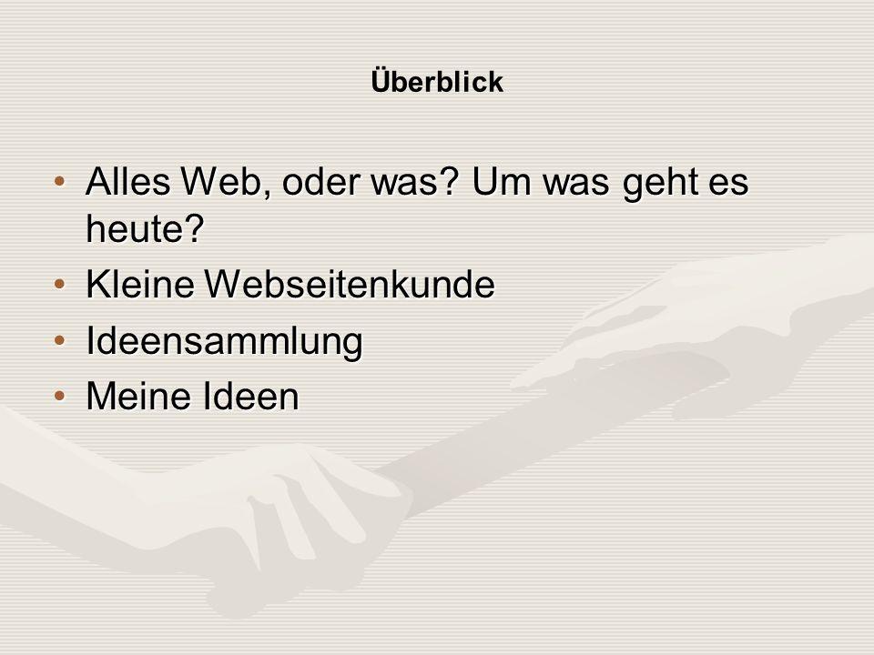 Kleine Webseitenkunde (Hypertext Markup Language) HTML Seite: Willkommen auf der Website von Jürgen Mayer Workshop Internet Priesterseminar Augsburg Jürgen Mayer 22.03.2005