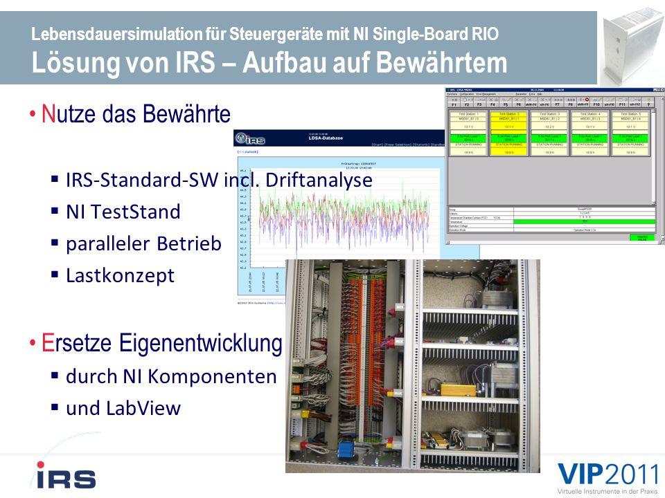 Lebensdauersimulation für Steuergeräte mit NI Single-Board RIO Lösung von IRS - Weiterentwicklung Technologie Plattform für die Messtechnik NI Single-board-RIO Echtzeitverhalten über LabView-RT.