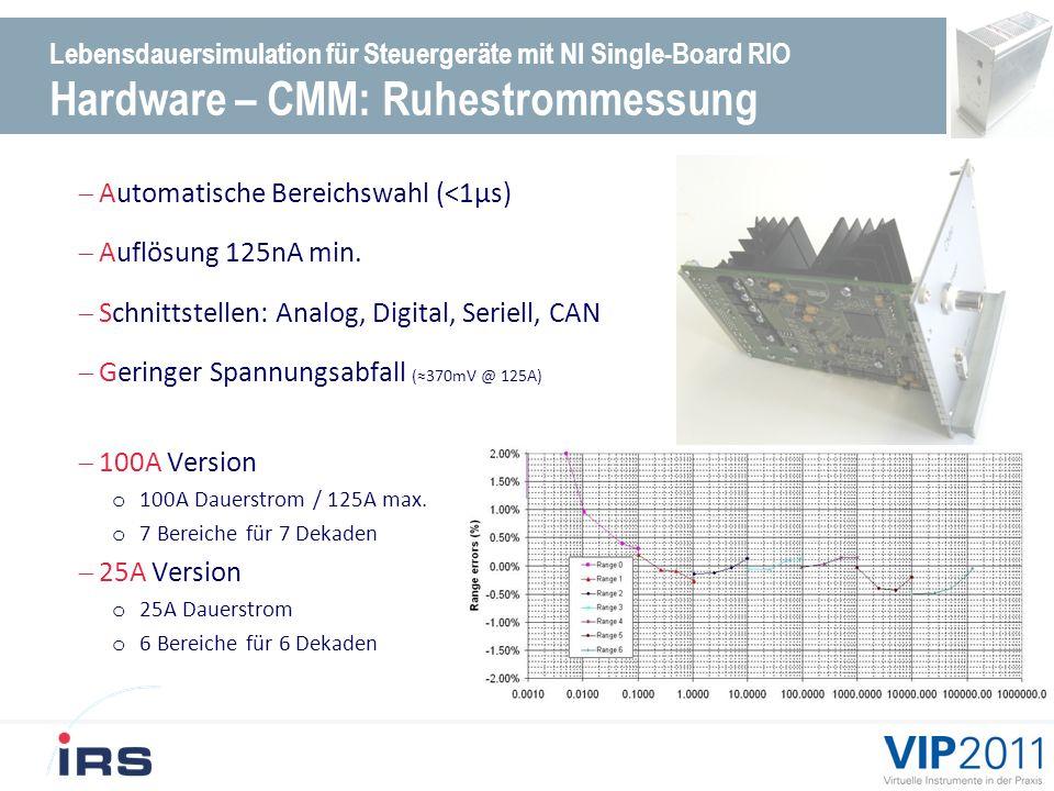 Lebensdauersimulation für Steuergeräte mit NI Single-Board RIO Hardware – CMM: Ruhestrommessung Automatische Bereichswahl (<1µs) Auflösung 125nA min.