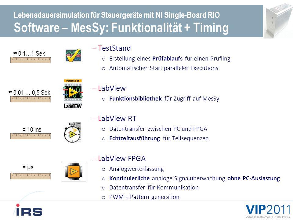 Lebensdauersimulation für Steuergeräte mit NI Single-Board RIO Software – MesSy: Funktionalität + Timing TestStand o Erstellung eines Prüfablaufs für einen Prüfling o Automatischer Start paralleler Executions LabView o Funktionsbibliothek für Zugriff auf MesSy LabView RT o Datentransfer zwischen PC und FPGA o Echtzeitausführung für Teilsequenzen LabView FPGA o Analogwerterfassung o Kontinuierliche analoge Signalüberwachung ohne PC-Auslastung o Datentransfer für Kommunikation o PWM + Pattern generation 0,1…1 Sek.