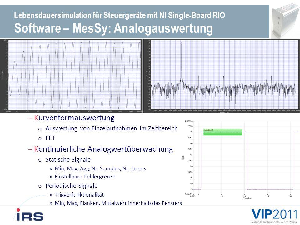 Lebensdauersimulation für Steuergeräte mit NI Single-Board RIO Software – MesSy: FPGA Ressourcen Device Utilization --------------------------- Total Slices: 33.6% (13760 out of 40960) Flip Flops: 27.2% (11161 out of 40960) Total LUTs: 106.7% (21844 out of 20480) Block RAMs: 62.5% (25 out of 40) Timing --------------------------- MiteClk (Used by non-diagram components): 33.04 MHz (56.41 MHz maximum) 40 MHz Onboard Clock: 40.41 MHz (40.88 MHz maximum) 80MHz: 80.00 MHz (81.96 MHz maximum) CMM_Clk: 2.50 MHz (28.11 MHz maximum) Device Utilization --------------------------- Total Slices: 67.2% (13760 out of 20480) Flip Flops: 27.2% (11161 out of 40960) Total LUTs: 53.4% (21844 out of 40960) Block RAMs: 62.5% (25 out of 40) Timing --------------------------- MiteClk (Used by non-diagram components): 33.04 MHz (56.41 MHz maximum) 40 MHz Onboard Clock: 40.41 MHz (40.88 MHz maximum) 80MHz: 80.00 MHz (81.96 MHz maximum) CMM_Clk: 2.50 MHz (28.11 MHz maximum)