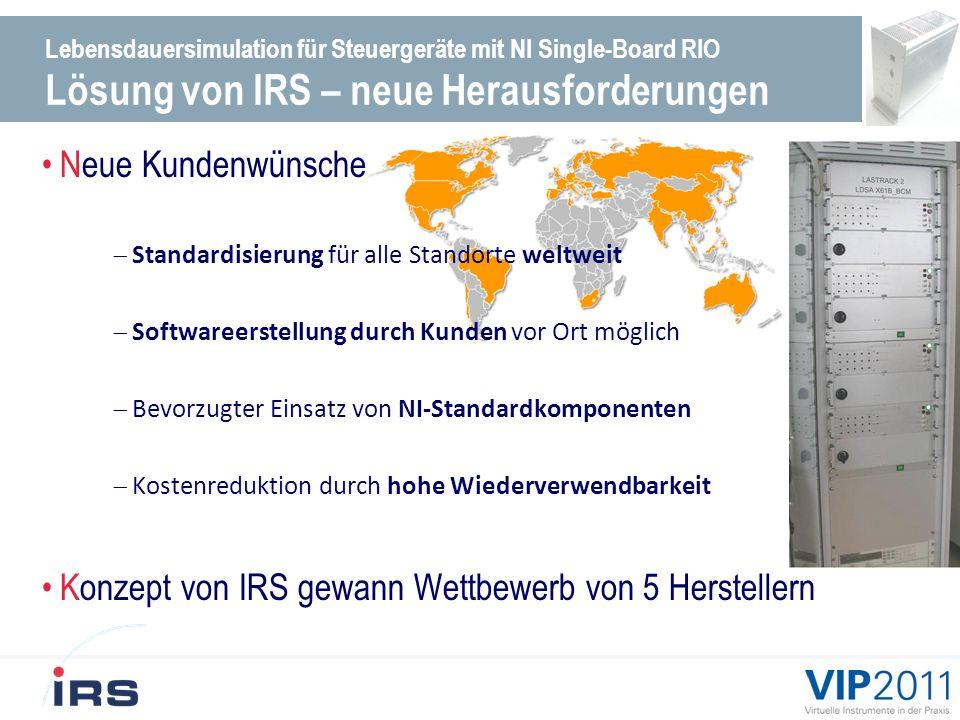 Lebensdauersimulation für Steuergeräte mit NI Single-Board RIO Lösung von IRS – neue Herausforderungen Neue Kundenwünsche Standardisierung für alle Standorte weltweit Softwareerstellung durch Kunden vor Ort möglich Bevorzugter Einsatz von NI-Standardkomponenten Kostenreduktion durch hohe Wiederverwendbarkeit Konzept von IRS gewann Wettbewerb von 5 Herstellern