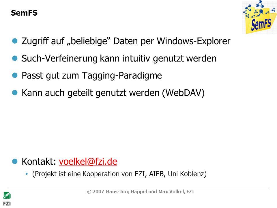 © 2007 Hans-Jörg Happel und Max Völkel, FZI SemFS Zugriff auf beliebige Daten per Windows-Explorer Such-Verfeinerung kann intuitiv genutzt werden Passt gut zum Tagging-Paradigme Kann auch geteilt genutzt werden (WebDAV) Kontakt: voelkel@fzi.devoelkel@fzi.de (Projekt ist eine Kooperation von FZI, AIFB, Uni Koblenz)