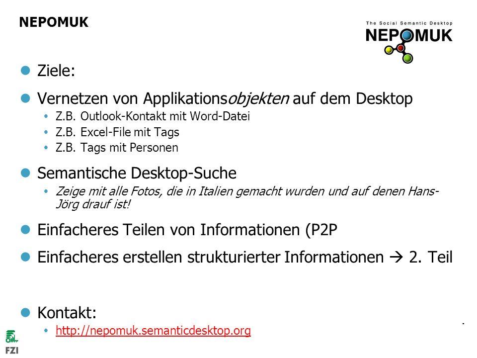 © 2007 Hans-Jörg Happel und Max Völkel, FZI NEPOMUK Ziele: Vernetzen von Applikationsobjekten auf dem Desktop Z.B. Outlook-Kontakt mit Word-Datei Z.B.