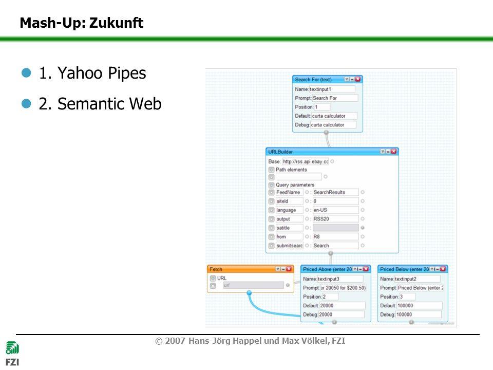 © 2007 Hans-Jörg Happel und Max Völkel, FZI Mash-Up: Zukunft 1. Yahoo Pipes 2. Semantic Web
