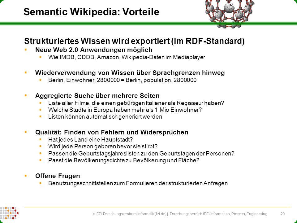 23 FZI Forschungszentrum Informatik (fzi.de) | Forschungsbereich IPE: Information, Process, Engineering Semantic Wikipedia: Vorteile Strukturiertes Wi