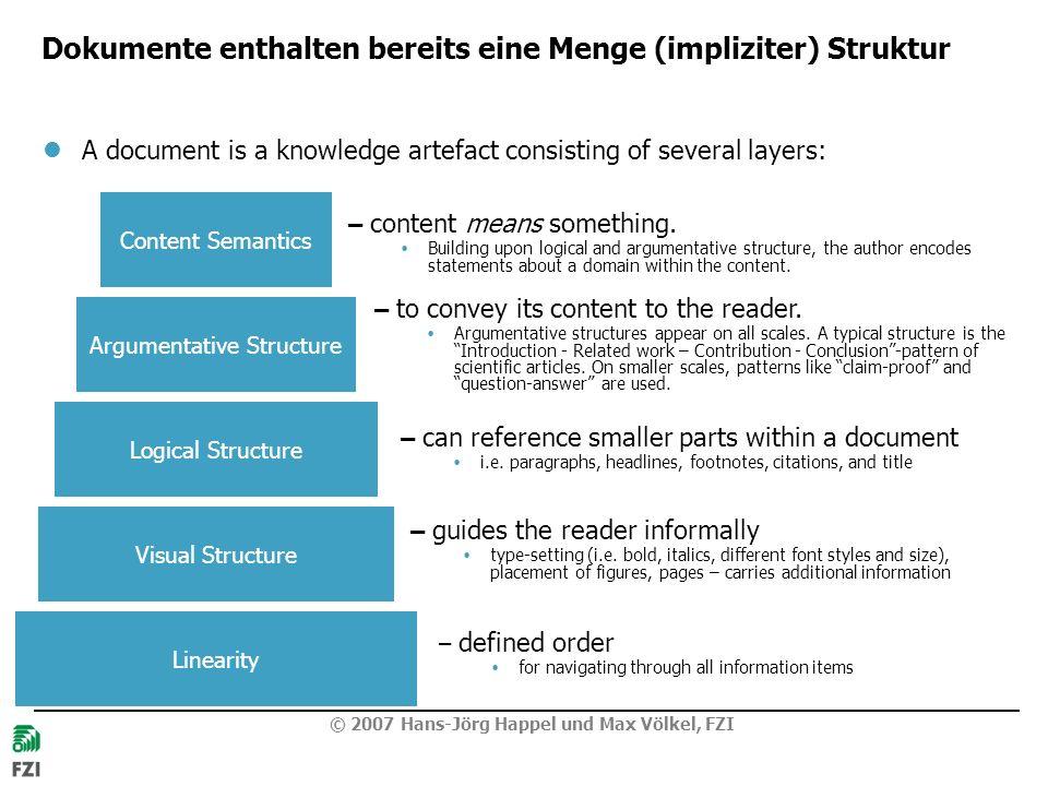 © 2007 Hans-Jörg Happel und Max Völkel, FZI Dokumente enthalten bereits eine Menge (impliziter) Struktur A document is a knowledge artefact consisting