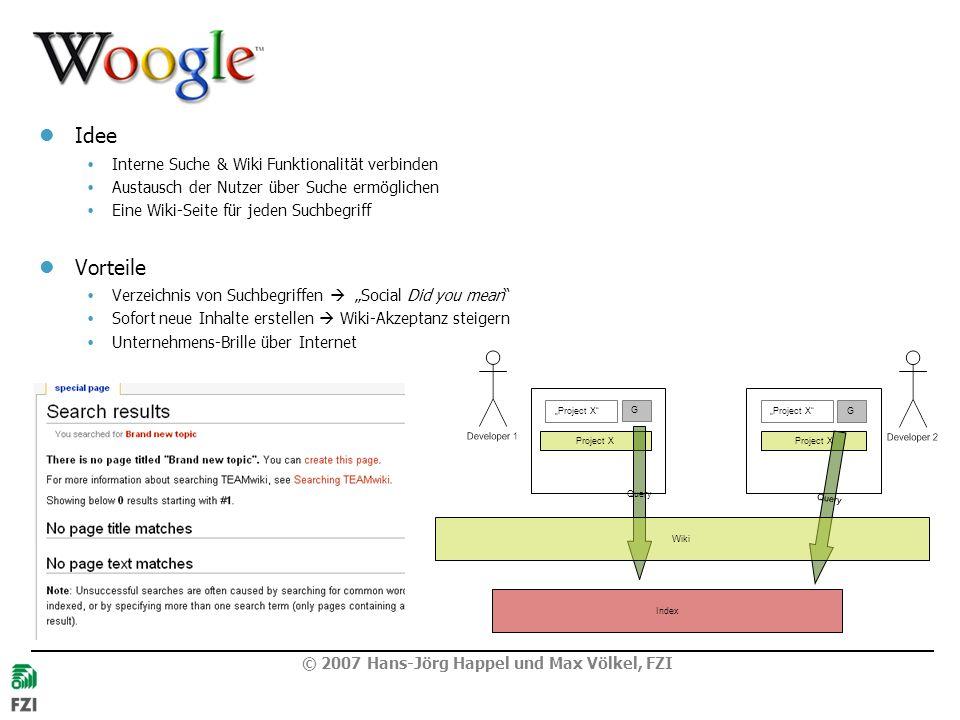 © 2007 Hans-Jörg Happel und Max Völkel, FZI Woogle Idee Interne Suche & Wiki Funktionalität verbinden Austausch der Nutzer über Suche ermöglichen Eine