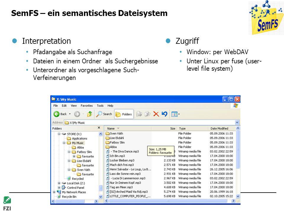 © 2007 Hans-Jörg Happel und Max Völkel, FZI SemFS – ein semantisches Dateisystem Interpretation Pfadangabe als Suchanfrage Dateien in einem Ordner als Suchergebnisse Unterordner als vorgeschlagene Such- Verfeinerungen Zugriff Window: per WebDAV Unter Linux per fuse (user- level file system)