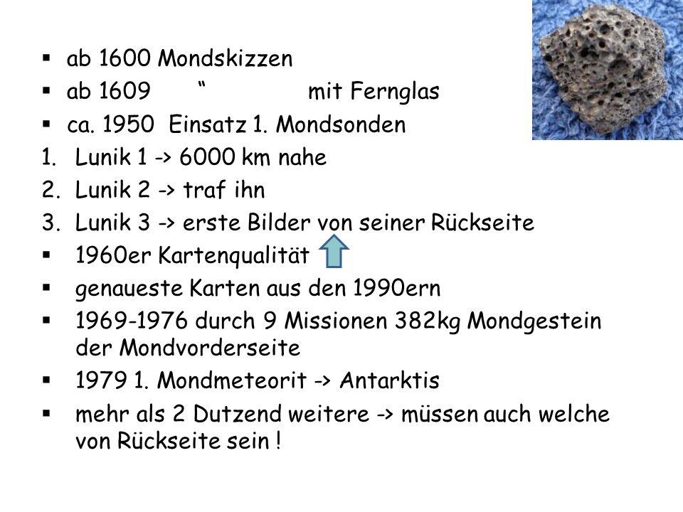 ab 1600 Mondskizzen ab 1609 mit Fernglas ca. 1950 Einsatz 1. Mondsonden 1.Lunik 1 -> 6000 km nahe 2.Lunik 2 -> traf ihn 3.Lunik 3 -> erste Bilder von