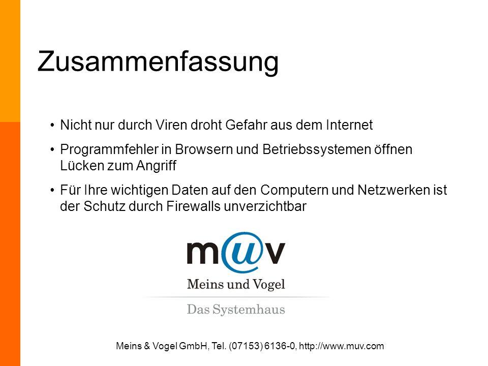 Meins & Vogel GmbH, Tel. (07153) 6136-0, http://www.muv.com Zusammenfassung Nicht nur durch Viren droht Gefahr aus dem Internet Programmfehler in Brow
