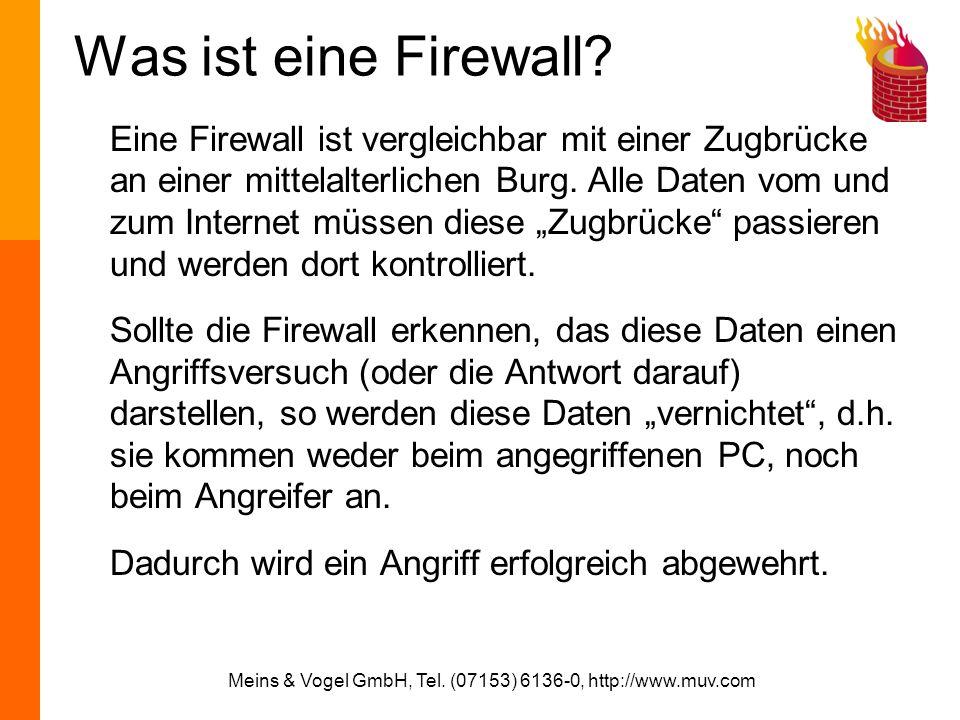 Meins & Vogel GmbH, Tel. (07153) 6136-0, http://www.muv.com Was ist eine Firewall? Eine Firewall ist vergleichbar mit einer Zugbrücke an einer mittela