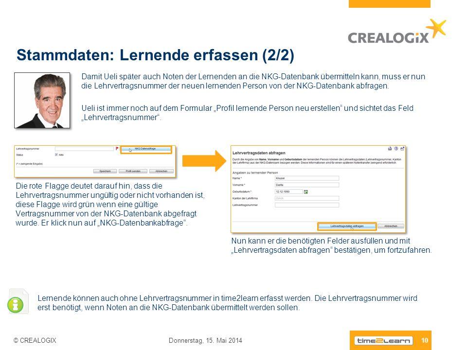 Stammdaten: Lernende erfassen (2/2) 10 Donnerstag, 15. Mai 2014 © CREALOGIX Damit Ueli später auch Noten der Lernenden an die NKG-Datenbank übermittel